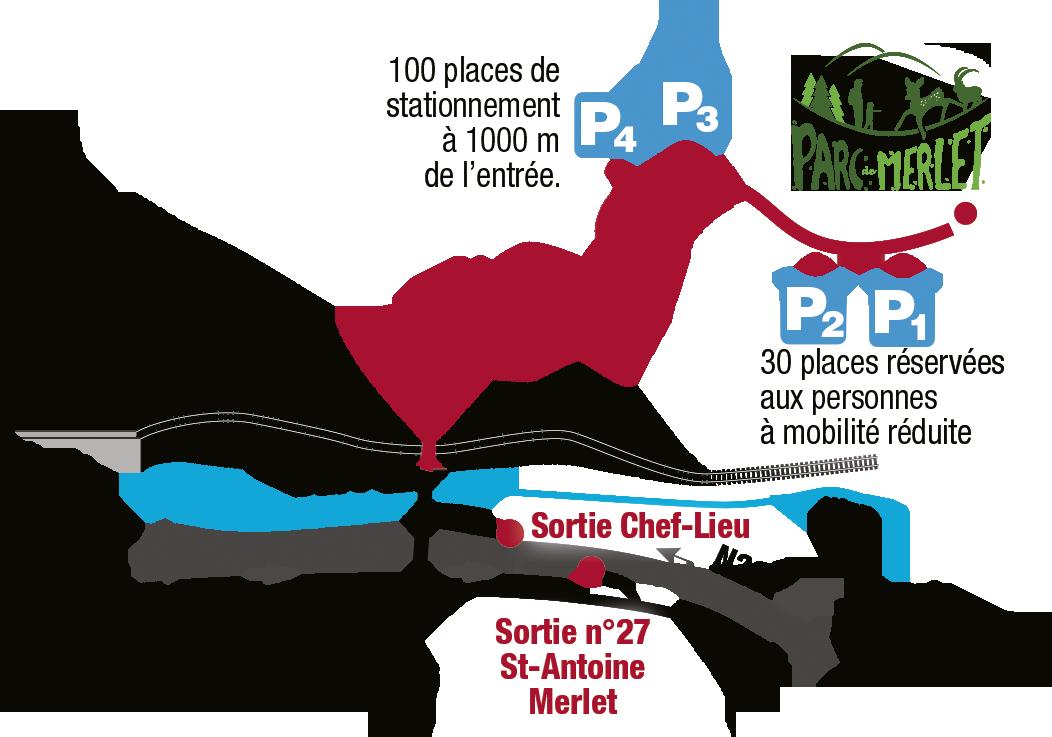 Plan d'accès en voiture au parc de Merlet