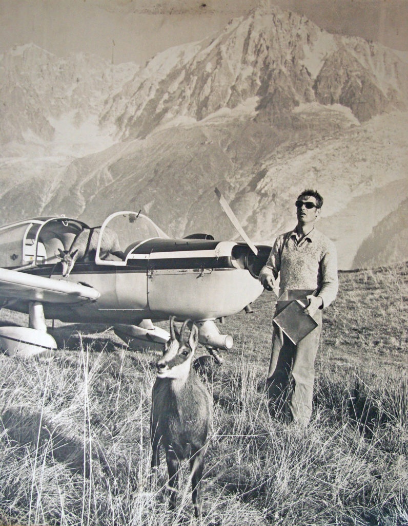 Philippe Cachat, his plane and Bambi the chamois in Merlet
