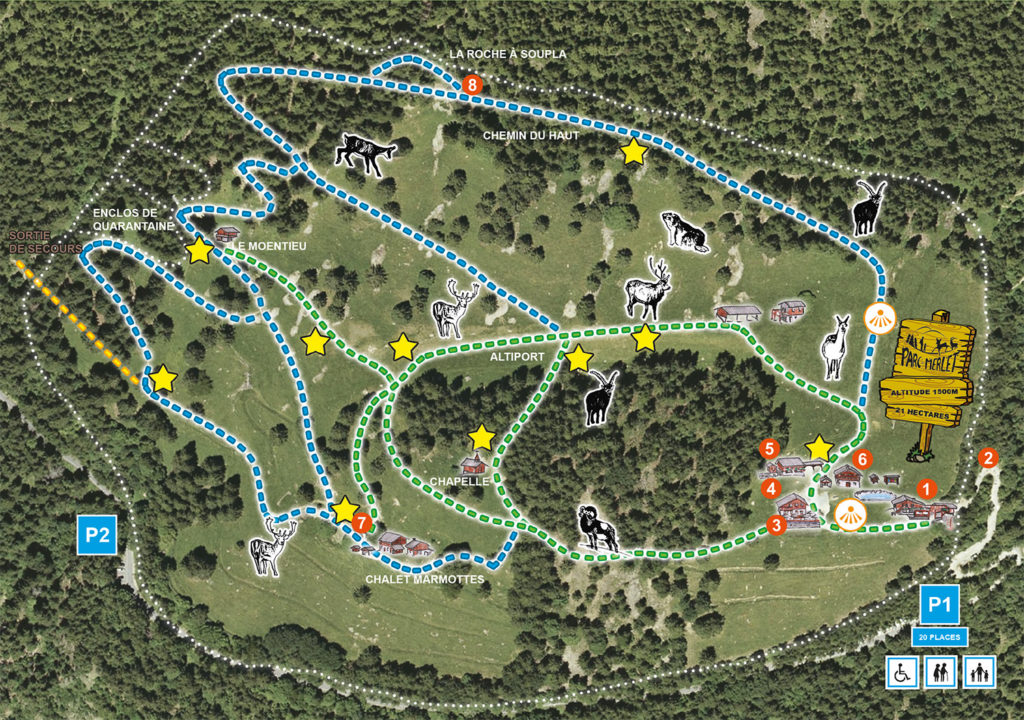 Map of Merlet Park with tours