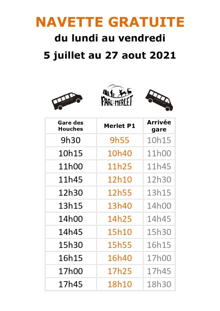 horaires navette 2021