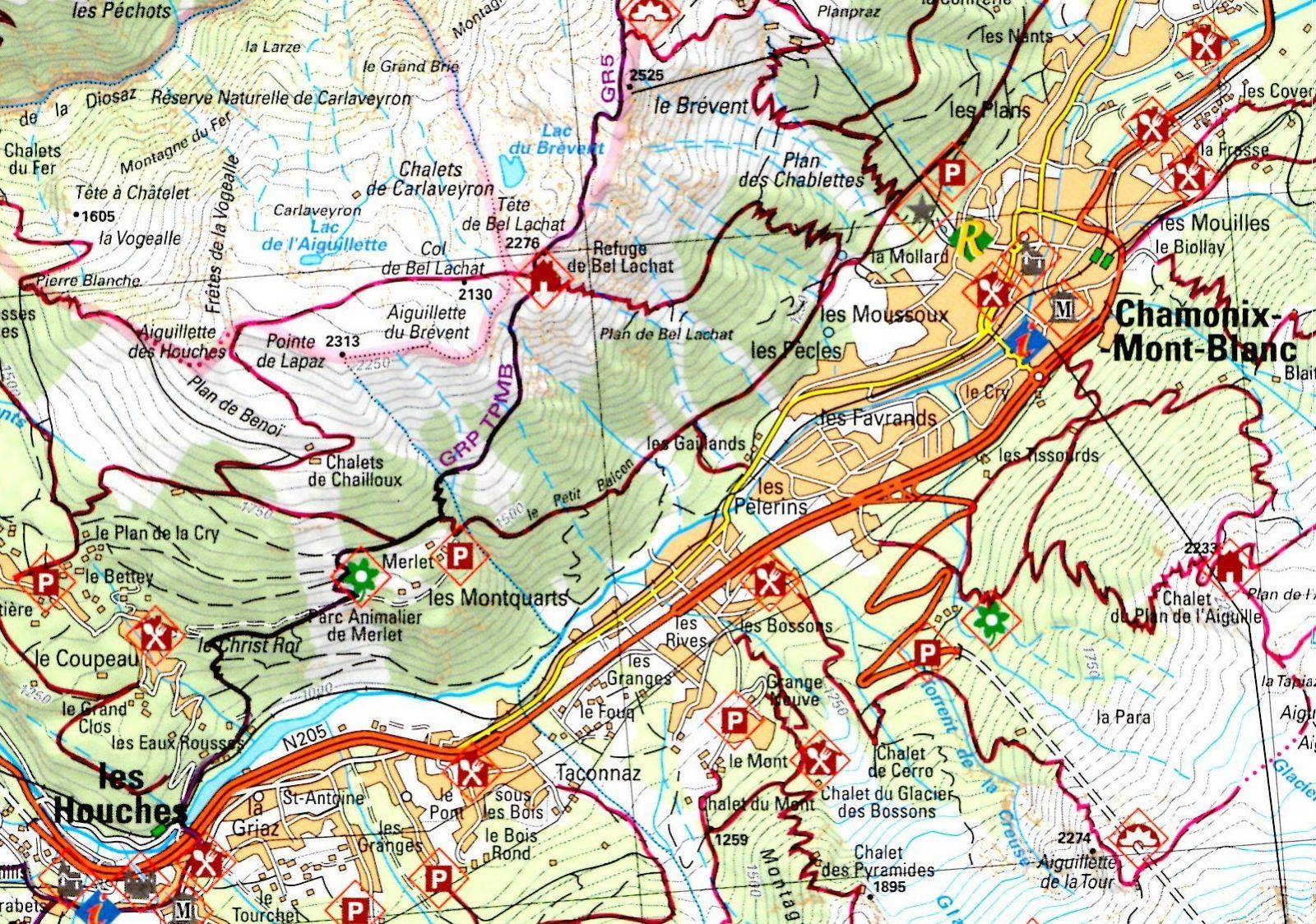 Carte sentiers de randonnée autour de Merlet