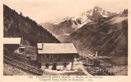 1940 vieille carte postale de merlet derrière jardin